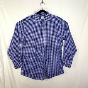 Brooks Brothers Mens 16.5 - 34 Blue White Check
